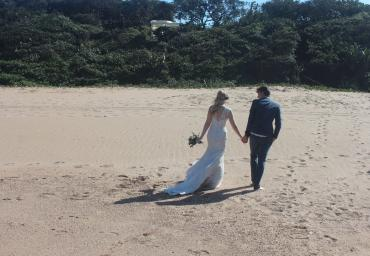 VI BEACH WEDDING PHOTO SHOOT WALKING AWAY TOGETHER